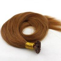 200g 1Régler = 200Strands Pre collé Embout plat Extensions de cheveux 16 18 20 22 24inch Couleur naturelle brun cheveux Remy Indien du Brésil