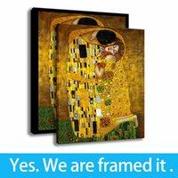 Hazır için askıda - - Koltuk Arkaplan Van Gogh Duvar Resmi Gustav Klimt Sanat Tuval Çerçeveli Art öpücük Baskı Boyama Destek Özelleştirme
