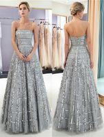 Nuovo 100% immagine reale argento grigio Prom Dresses paillettes tulle senza spalline delle donne abito da sera lungo Quinceanera festa di laurea abito da ballo CPS1162
