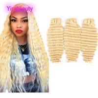 B malaisienne humaine Cheveux Vierge Extensions 3 Bundles vague profonde 613 #color Blonde Curly Double Trames 10 -28inch Blonde doux gros