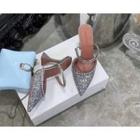 Sıcak Satış-Mükemmel Resmi Kalite Amina Muaddi Kadınlar 95mm Gilda Süslenmiş Glitter Mules Amina Muaddi Kristal Yüksek topuk Seksi Ayakkabılar Sandalet