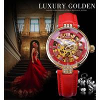 2021 Fasining Fasining Golden Skeleton Diamond Design Red Genuine Cuero Banda Luminosa Llamada Mecánica Relojes Top Marca de lujo