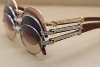 Óculos de sol novo diamante grande quadro de luxo-sunglasses óculos madeira vintagel unisex com 7550178 Tamanho: 55-22-135 Caixa Designer Sun Uidtf