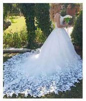 Sexy 2020 Robe de Soiree Lace Una línea Vestido de novia Sweetheart Sheer Cuello Vestido nupcial con tren Corte Vestidos de boda de alta calidad Nuevo