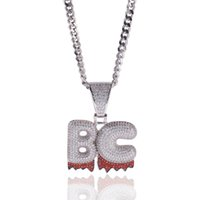 Hip Hop Jewelry Iced Out Custom Name White Drip Letters Chai...