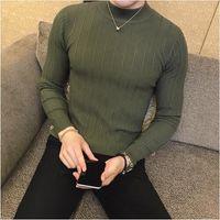 Свитер мужчины 2019 мужской бренд случайные свитер мужчины сплошной цвет удобные мужские рождественские свитер шею Slim Fit тянуть homme