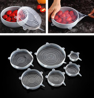 Silicone alimentaire Wraps 6pcs / set réutilisables aliments frais Save Cover Bowl Etendu durable plaque de stockage Couvercles OOA7631-1