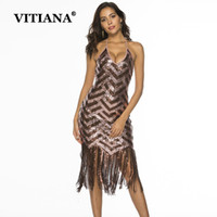VITIANA Femmes Sexy Party Dresse Femme 2019 Summer Paillettes Glands manches Halter Slim Mini Robes éclairage Sparkly ClubWear