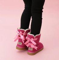 FREIE VERSCHIFFEN Kinder Bailey 2 Bögen Boot echtes Leder Kleinkinder Schnee-Aufladungen Fest Botas De nieve Winter-Mädchen Schuhe Kleinkind-Mädchen Stiefel 02