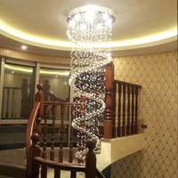 Modern K9 Büyük LED Spiral Oturma Odası için Kristal Avizeler Aydınlatma Armatürü Merdiven Merdiven Lambası Vitrin Yatak Odası Otel Salonu