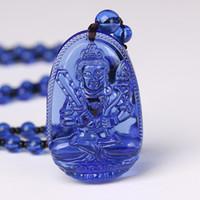 Catena Collana Buddha pietra Collana 3A Trendy Naturale Kyanite fortunato amuleto fortunato di cristallo intagliato belle signorine Gioielli da uomo