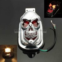 MOTORCYCLE SKULL REAR TAIL LIGHT Lamp FOR HARLEY Chrome Case...