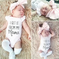 Baby Letters Body Jumpsuits Short Sleeve Coveralls-Rosa-Bogen-Stirnband-Zweiteiler-Kleidung Kinder Bodysuit für Kinder Outfits E3302