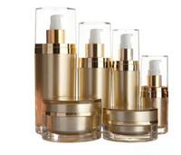 15/30/60 / 120ml botella del oro cuidado de la piel crema plástico acrílico bomba botellas de loción 15g 30g 50g Crema cosmética tarro de contenedores