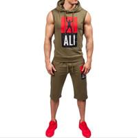 남자의 디자이너 스포츠 정장 2018 새로운 남성의 실행 정장 체력 훈련 민소매 느슨한 남성 의류 러닝 착용