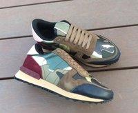 Moda Deri Süet Stud rockrunner kamuflaj Sneakers Ayakkabı Erkek Kadın Flats Lüks Tasarımcı Perçin Rockrunner Eğitmenler Günlük Ayakkabılar C29