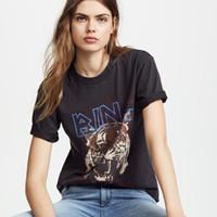 Boho Black Tiger Head Graphic T-shirts à manches courtes en coton femmes O Neck T-shirts Chemises nouvelle mode des femmes t-shirt T-shirts Casual CX200622