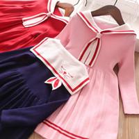 Дети девочка кружева осложнение воротник вышивка бантом полоса с длинным рукавом платье детей элегантная осень девочка дизайнерская одежда на флоте вязаное платье