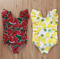 Bebek Kız Mayo Baskılı Bebek Mayo Ruffles Bebek Swim Suit Çocuk Mayo Yaz Giyim Ananas Karpuz 2 Stil 5102