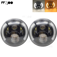 7 pouces 50W LED phare 12V High Low Beam Halo Blanc DRL Ambre Clignotant pour Jeep Wrangler JK TJ LJ Land Rover Lada 4x4