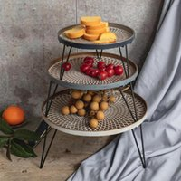 Iron Round Tray Rack Fruit Snack Bread Dessert Tray Storage ...