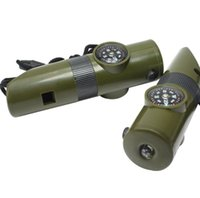 7 IN1 multifonctions Sifflet de survie mini-camping, randonnée Équipement de soirée d'escalade Trousse de survie Gadgets avec boussole miroir conduit la lumière