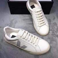 Los nuevos Mens Veja V-10 de piel extra zapatillas de deporte de las mujeres de piel de becerro ESPLAR Formadores blanco de la manera del bajo-top Zapatos respirables de los zapatos corrientes US4-11