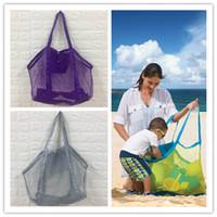 2020 45 * 30cm Plaj Mesh Çanta Bez Ücretsiz Shell Collector Oyuncak Depolama Çanta Kadınlar Çanta Totes Kum Torbası Kum havuzları Kılıfı duffles Sıcak Satış D3302
