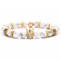 Fábrica de 8 milímetros direta Natural pedra turquesa pulseira Designer Luxury Jewelry Mulheres Bracelects Rose Quartz Cubic Zirconia Crown pulseira de presente
