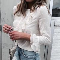 Женщины дамы блузки элегантный повседневная оборками кружева горошек o-образным вырезом рубашка с длинным рукавом блузка blusa feminina 2018 новый популярный хорошо продавать