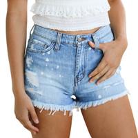Weigou Sommer-Frauen Shorts Hight Taillierte Washed Ripped Loch-Kurz Quaste Jeans Shorts Denim