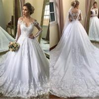 2020 Vintage Long Sleeve A Line Wedding Dresses Arabic Off Shoulder Lace Appliqued Bridal Gowns With Court Train Plus Size Maternity Dress