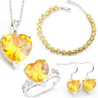 Joyería LuckyShine 4 piezas Set de la novia / joyería del pendiente colgantes anillos pulsera 925 plata esterlina de cristal de circón corazón de la boda