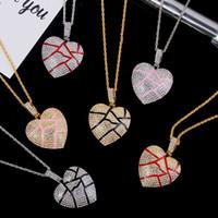 Coração quebrado colares para fora congelado Pendant Hip Hop Jewelry Mulheres Moda Bling Colar de cristal Rhinestone amor encanto do ouro corrente de prata por Homens