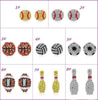 С Full Rhinestone Бейсбол / Футбол / Баскетбол серег Мода спорта Jewelry лучший друг подарок для команды клуба Шаровые любителей базы