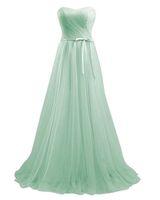 Mint Verde Alta Qualidade A-Linha Longo Sweetheart Tulle Dama de Honra Vestidos Piso-Comprimento Vestidos Da Festa De Casamento Vestidos De Promoção Com Ruffle