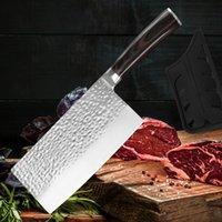 7 polegadas chef faca 7cr17mov aço inoxidável faca de cozinha cutelo artesanal forjamento afiado profissional chinês utilitário fatiar com capa de faca
