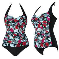 Mulheres Sexy Strappy One Piece Swimsuit Crânio Imprimir Halter Backless Beachwear Cintura Alta Swimwear Plus Size Roupas de Verão M ~ 4XL