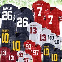 NCAA OHIO State Buckeyes # 7 Dwayne Haskins Jr. # 97 Bosa Jersey Penn State Nittany Lions 26 Saquon Barkley 13 Tua Tagovailoa