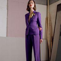 Purpurrote Frauen Hose Anzüge 2 Stück Mutter Kleid Slim Fit Damen Büro Abendarbeit Tragen Smoking (Jacke + Hose)