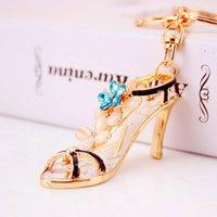 الإبداعية السيدات لطيف الكريستال الماس أحذية كيس مفتاح سلسلة معدنية قلادة الملحقات الصغيرة هدايا ذات الكعب العالي