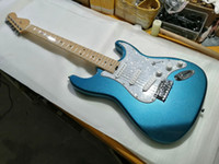 고품질 FDST-1093 금속 블루 컬러 솔리드 화이트 픽가드 메이플 frtboard 엘리트 전기 기타, 무료 배송