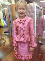 Hot Sale Little Girls Interview Suits With Bows Ruched Långärmad Två Pieces Toddler Pageant Party Gowns