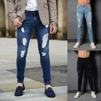 Мужские 3 цвета уникальный дизайн разорвал отверстие джинсы для мужчин Slim Fit джинсовые брюки мужской длинные узкие модные брюки Homme