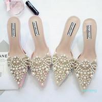 الساخنة الكعوب بيع اللؤلؤ الراين أحذية عالية للسيدات أصابع القدم المدببة أحذية الوردي والبيج صندل أحذية حجم 35-39 شحن مجاني