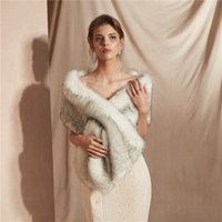 Sexy White Shawl Faux Fur Bridal Dress Shawl Dress Warm Shaw...