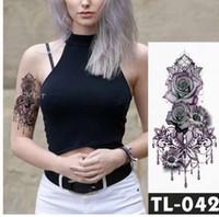 Gefälschte temporäre Tätowierungen Aufkleber dunkle Rose Blumen Arm Schulter Tattoo wasserdichte Frauen Flash Tattoo auf Körperkunst