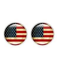 Star Stripes круглый диск американский флаг Стад серьги для женщин День независимости патриотический Четвертого июля вспомогательного оборудования ювелирных изделий