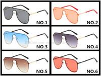 Metal oceano lente grande frame Sunglasses New Frameless Designer Óculos Atacado 8801 Marca Metal Frame Homem principal Óculos 6 cores