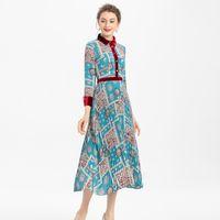 Velvet Колющие печати Bohemia с длинными рукавами однобортный плиссированной рубашки средней длины платья весна и лето новый высококачественный